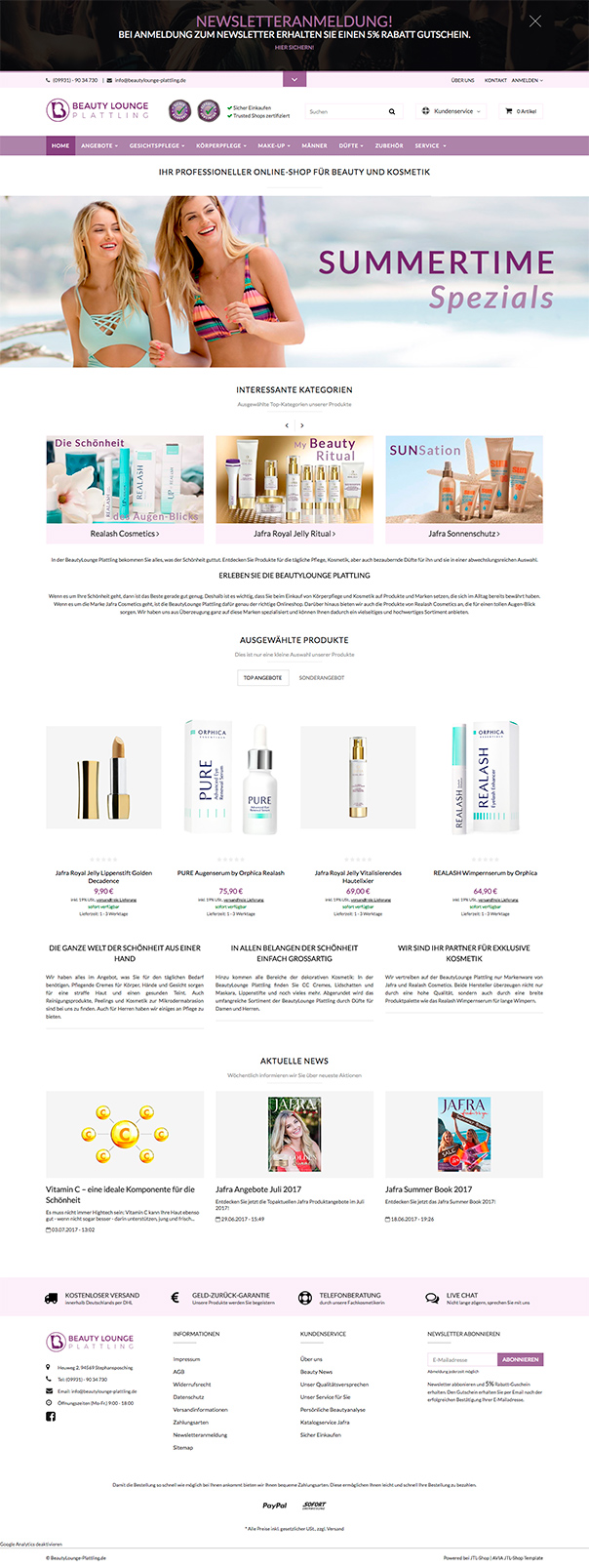 Beautylounge Plattling - Avia JTL Shop Template